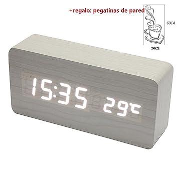 Malloom® madera temperatura Suena control Escritorio electrónica LED reloj despertador digital (blanco y blanco): Amazon.es: Hogar