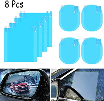 8 Stück Anti Beschlag Folie Auto Rückspiegel Folie Schutz Für Auto Toter Winkel Spiegel Spiegel Aufkleber Transparent Hd Glas Autozubehör Auto