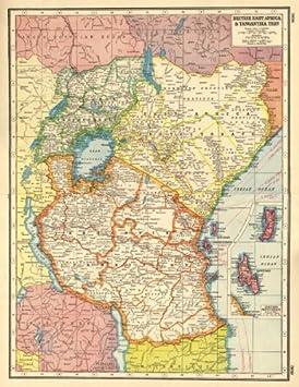 Map Of Africa Zanzibar.East Africa British Ea Tanganyika Terr Kenya Tanzania Zanzibar