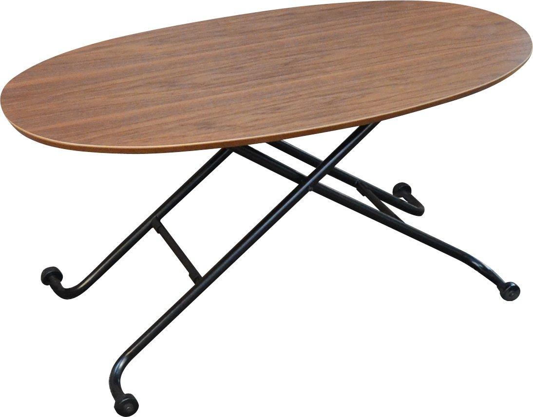 エムール ウォールナット突き板 オーバル リフトテーブル B009SK1SWW ウォールナット突き板 ウォールナット突き板