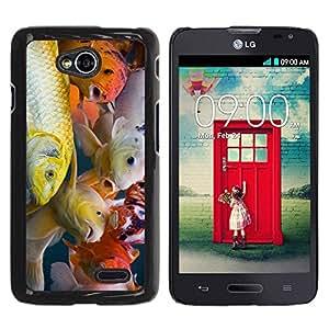 Caucho caso de Shell duro de la cubierta de accesorios de protección BY RAYDREAMMM - LG Optimus L70 / LS620 / D325 / MS323 - Colorful Koi Fish