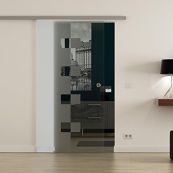 lousanne Diseño Decoración Hela Puerta Corredera de Cristal Templado de 8 mm con levidor Soft de Close de Stop 2050 x 900 mm Möbelgriff – Juego completo para puerta y herraje: Amazon.es: