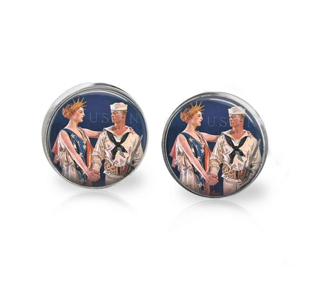 Sailor Navy Earrings, gifts for Her, vintage poster