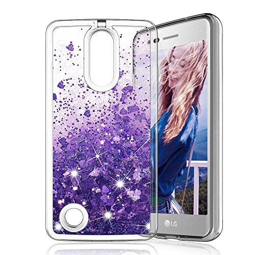 LG Aristo / LG Phoenix 3 / LG Fortune / LG K8 2017 / Risio 2 Case, MP-MALL Clear Back Flowing Liquid Floating Luxury Bling Glitter Sparkle TPU Hybrid Bumper - Phoenix Mall