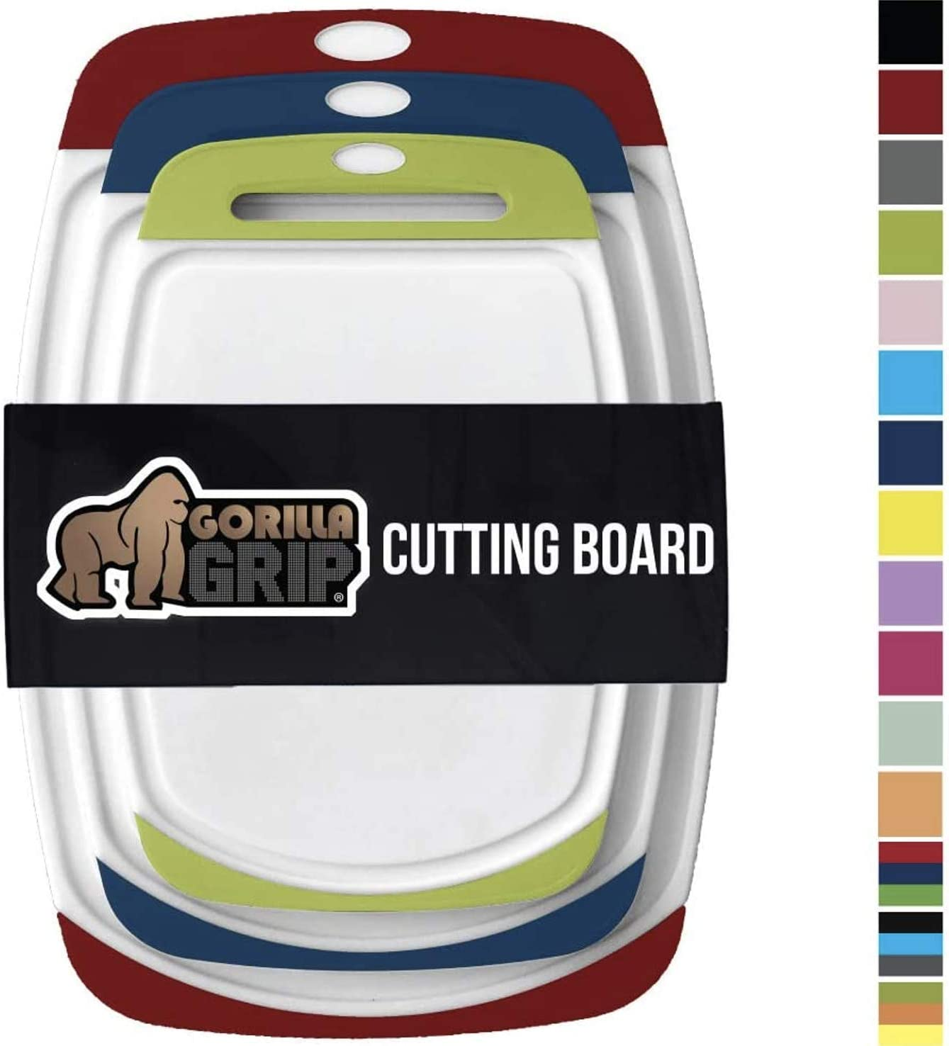 GORILLA GRIP Original Oversized Cutting Board, 3 Piece, BPA Free, Dishwasher Safe, Juice Grooves, Larger Thicker Boards, Easy Grip Handle, Non Porous, Extra Large, Set of 3, Red, Blue, Lime Green
