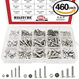 Hilitchi 460-Piece Metric M3 M4 M5 Hex Socket Flat Head Countersunk Bolts Screw Nut Assortment Kit - 304 Stainless Steel