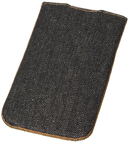 QIOTTI Q. Pochette Denim XL Housse étui en cuir véritable–noir