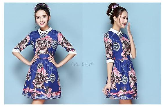 1dc0afe19f Gorgeous Peter lulu Pan Collar Half Sleeve Floral uk Printed Dress   Amazon.co.uk  Clothing