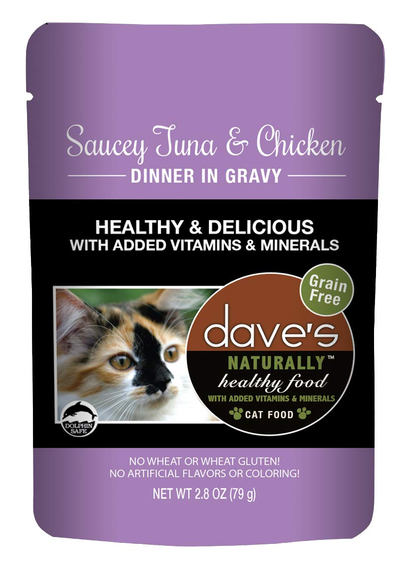 Dave's Naturally Healthy Wet Cat Food Pouches - Saucey Tuna and Chicken Dinner in Gravy - 2.8 Ounce Pouches, 24 Count - Made in the USA by Dave's Pet Food