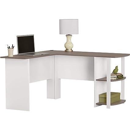 Phenomenal Ameriwood Home Dakota L Shaped Desk With Bookshelves White Sonoma Oak Download Free Architecture Designs Licukmadebymaigaardcom