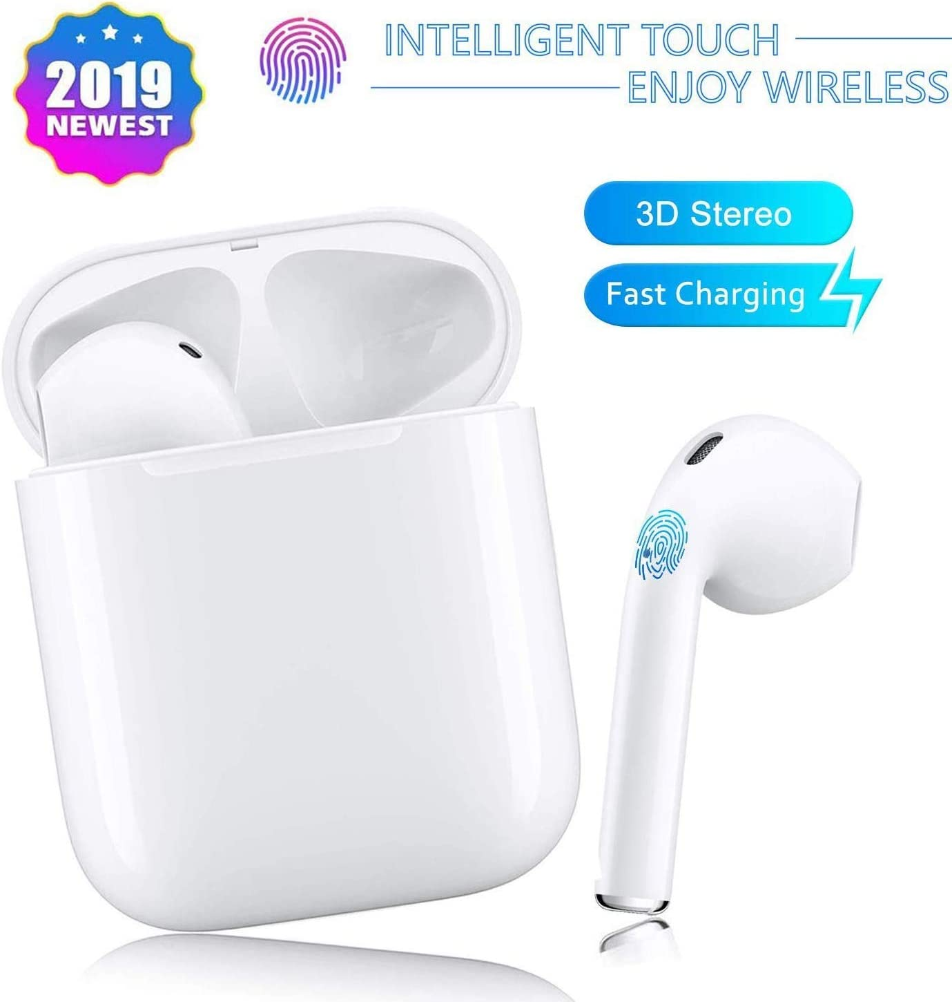 Bluetooth Headphones,Bluetooth 5.0 Wireless Earbuds,Noise Canceling 3D Stereo IPX5 Waterproof Sports Headset,Pop-ups Auto Pairing,compatible with Apple Airpods Android Iphone