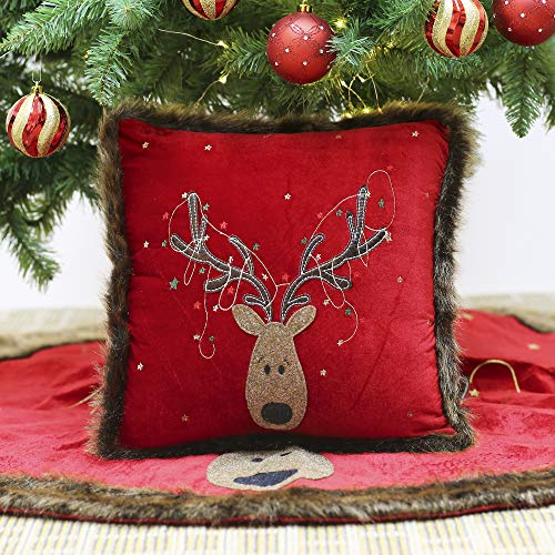 Valery Madelyn Traditional Red Green and Gold Christmas Pillow Covers 16x16 with Reindeer and Faux Fur, Themed with Tree Skirt (Not Included)