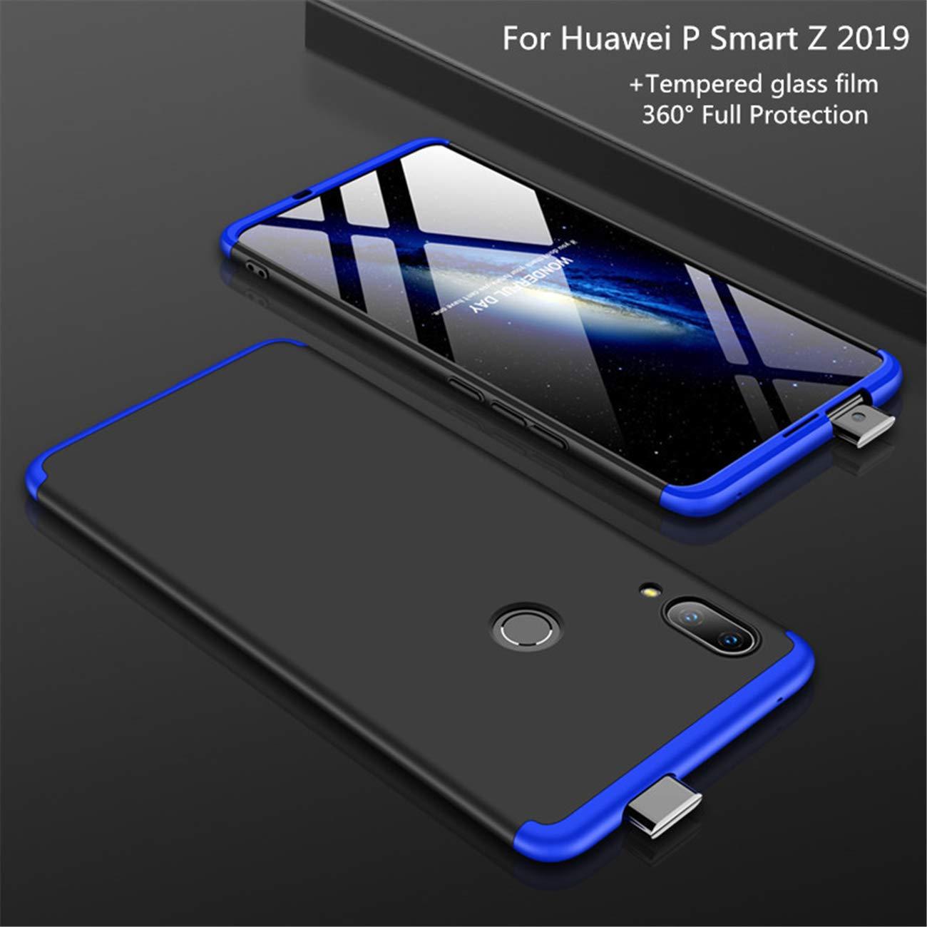 Cristal Templado Matte Ultra Slim PC Hard-Protecci/ón del Cuerpo Scratchproof Cubierta-Azul+Negro DECHYI compatibles para Funda Huawei P Smart Z,Cubierta