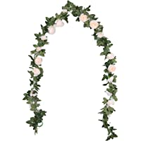 Duovlo 8.2Ft Artificial Peony Flower Garland Hanging Greenery Vine Silk Floral Vine Home Wedding Arch Wall Craft…