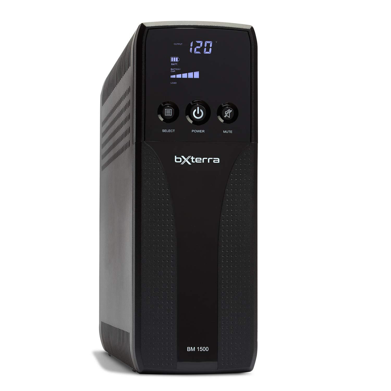 bXterra 1500VA UPS BM1500AVRLCD Intelligent LCD UPS Battery Backup, 10 Outlets, AVR, Easy Access Replaceable Battery, RJ11/RJ45/Coax, Contoured Design, Mini-Tower
