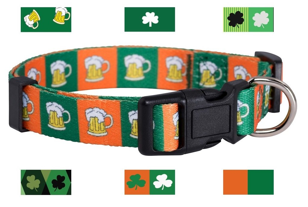 Green and orange Beer Small Green and orange Beer Small Native Pup St. Patrick's Day Dog Collars (Small, Green and orange Beer)