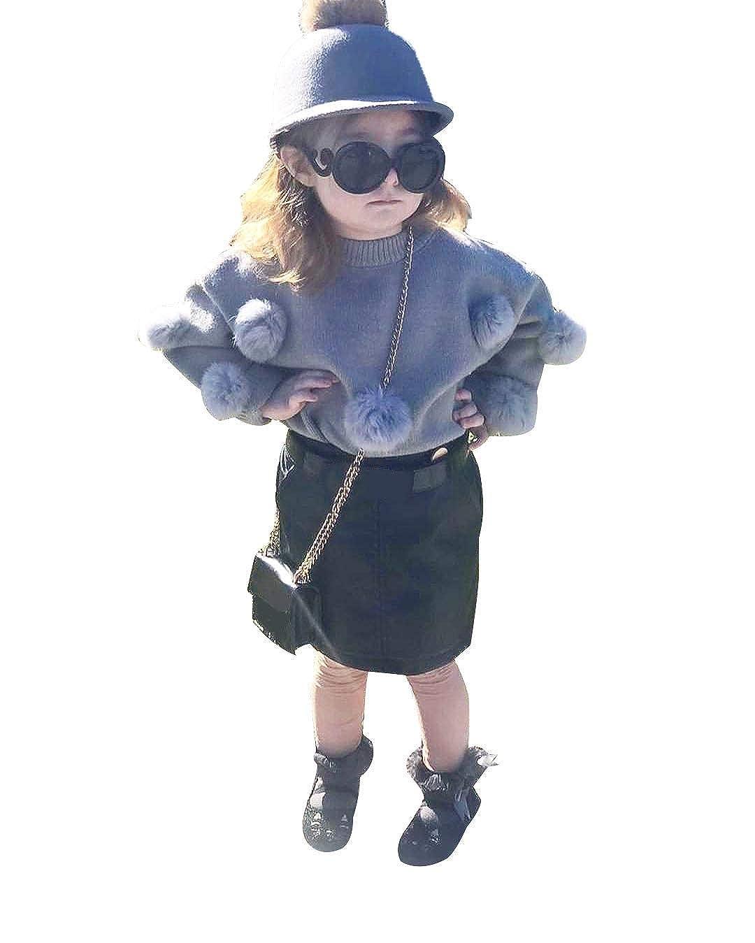 Mini Gonna Set di Vestiti da Bambina Lavorato a Maglia a Maniche Lunghe per l/'Inverno WANGSGOGO Wanggogo 2 Pezzi Maglietta Maglione con Bottoni