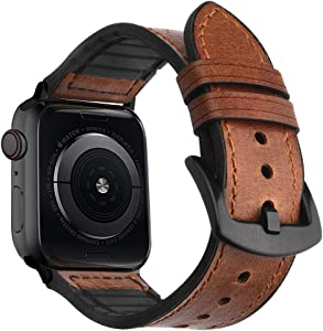 Goton Compatible for Apple Watch Band Leather 38mm 40mm, Men Women 2-Layer Genuine Leather and Soft Silicone Waterproof Material for iWatch Band Series 5 4 3 2 1 (Brown-BC, 40mm / 38mm)