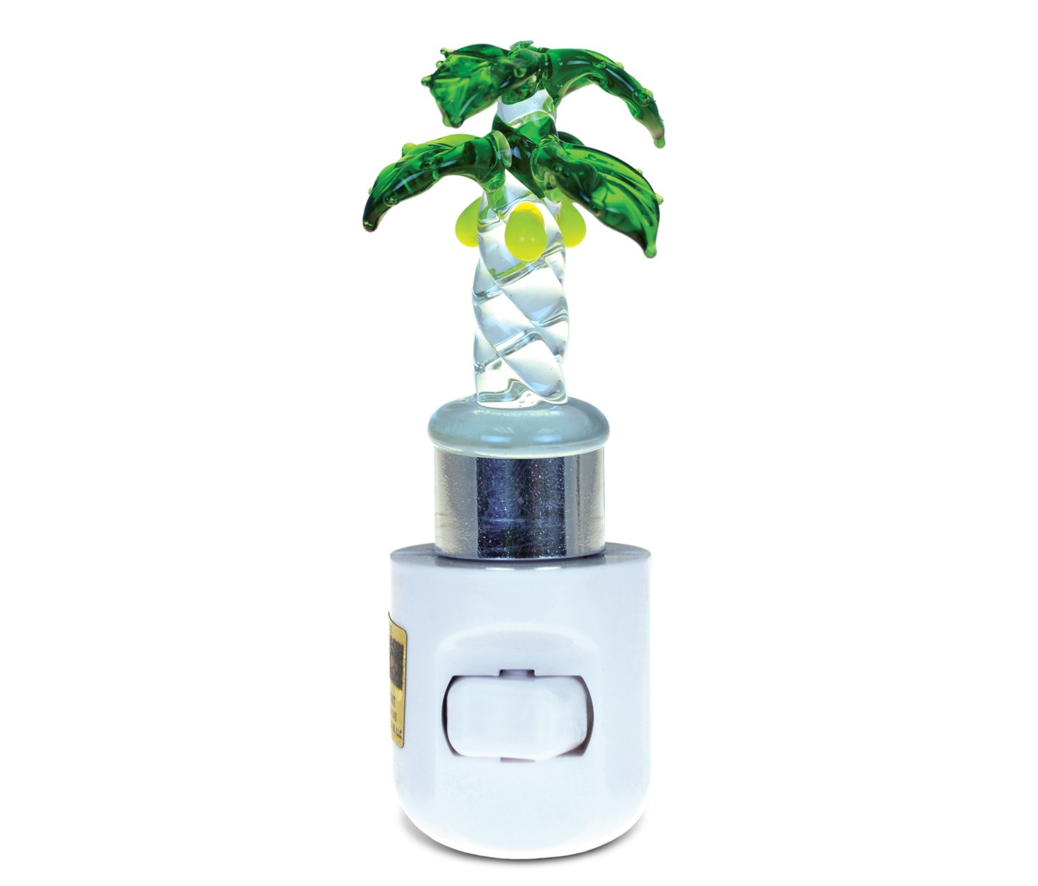 Puzzled Palm Tree LED Night Light Handcraft Art Glass Decorative Home Decor Portable Easy Plug & Switch Novelty Lamp Tropical Hawaiian Beach Theme Adorable Unique Design 1.5x1.5x4.5 Inches- Item #9628