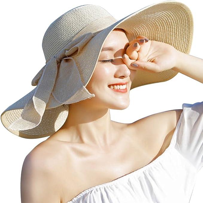 UV Caps Schlapper Sommer Sonne Stroh Hut Solid Weich Breite Krempe UPF50