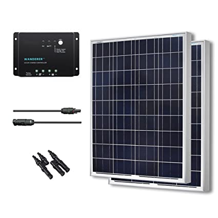Renogy 200 Watts 12 Volts Solar Bundle Kit w/ 2 pcs of 100w Solar Panel,  30A Charge Controller, 9in MC4 Adaptor Kit, A pair of Branch Connectors