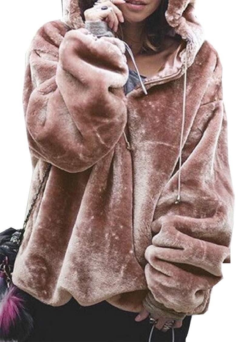 Gocgt Womens Fluffy Sweater Warm Outwear Hooded Sweatshirt Oversize Coat