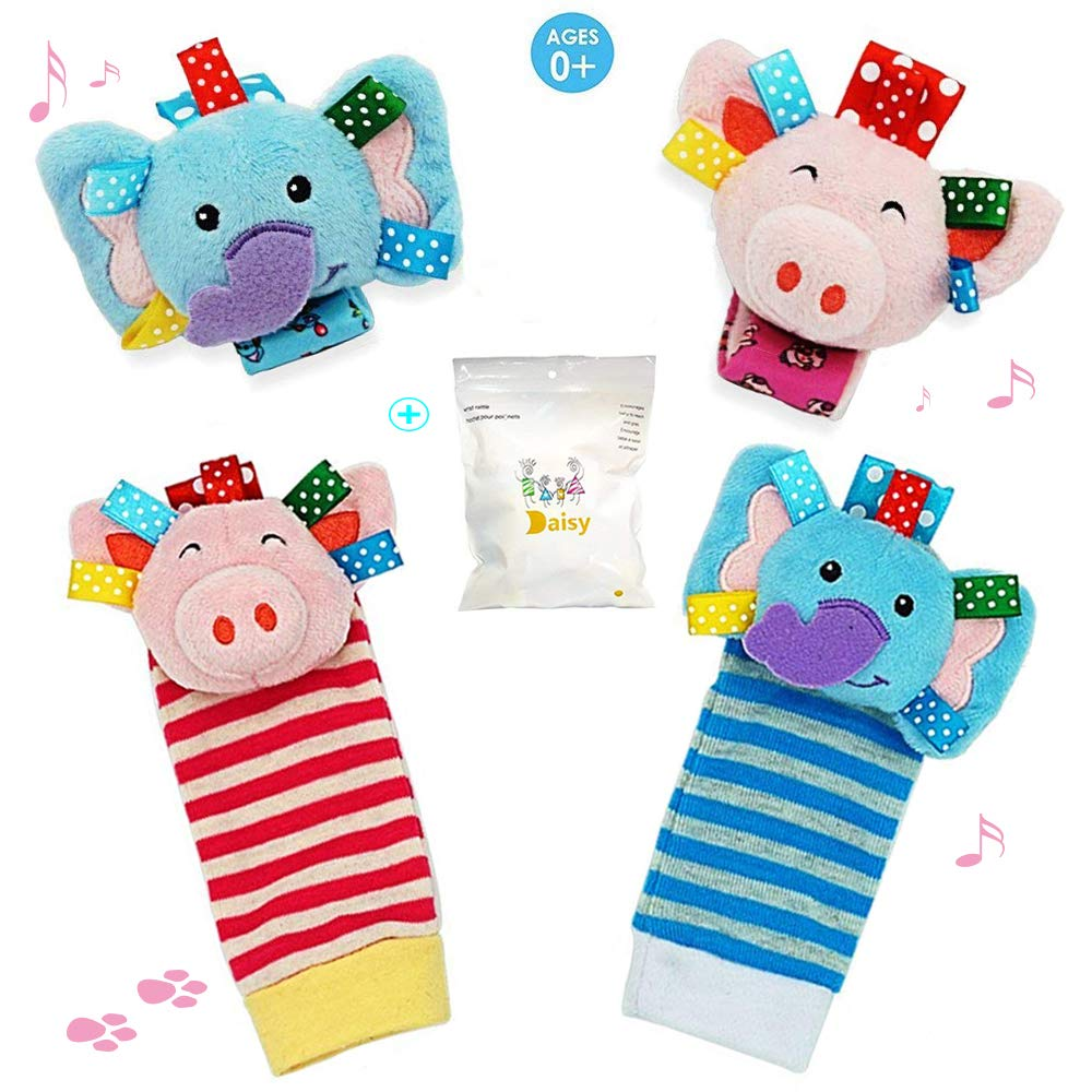 UiiQ 4 Packs Infant Baby Wrist Rattle & Foot Finder Socks Set, Wonderful Developmental Toys Set for Gift with Adorable Smiling Animals patterns - ( Elephant & Pig )