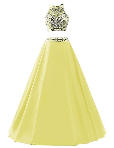 Dresstells reg;Vestido De Fiesta Dos Piezas Largo Halter Con Cuentas Amarillo 40