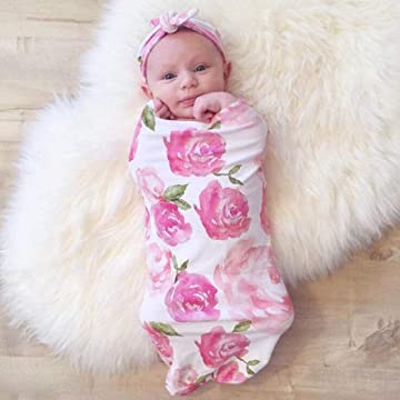 Ailler Newborn Print Blanket Headband Bow Set Baby Swaddle Wrap Sleeping Bag Bath & Hooded Towels
