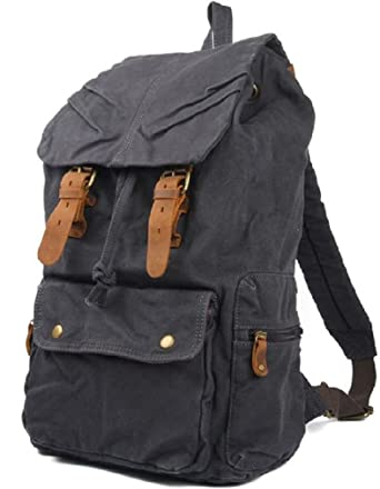 fc8992cb18d1 AM LandenRucksack Canvas Backpack Genuine Leather Straps(Stone-Wash Black)