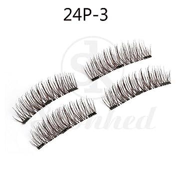 1445fd66ddf Amazon.com : Miswilsi SK SKONHED 4 Pcs Soft Silk Fiber Makeup False  Eyelashes Triple Magnet Extension Tools 3D Magnetic Lashes : Beauty