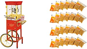 Nostalgia CCP510 Vintage 6-Ounce Commercial Popcorn Cart with 24 4-Ounce Premium Popcorn, Oil & SeasoningsPacks
