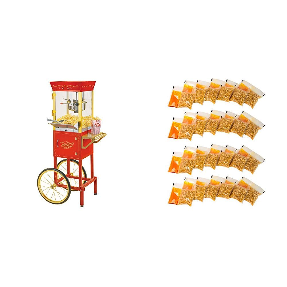 Nostalgia CCP510 Vintage 6-Ounce Commercial Popcorn Cart with 24 4-Ounce Premium Popcorn, Oil & Seasonings  Packs