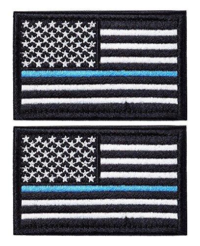 Operator Black Law Enforcement Short (Bundle 2 pieces - US Flag Police law enforcement Thin Blue Line Patch Decorative Embroidered Badge appliques 2