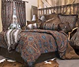 Rustic Western Southwestern Comforter Set Blue and Brown 5PC Saguaro Desert (King) R4L4163-5