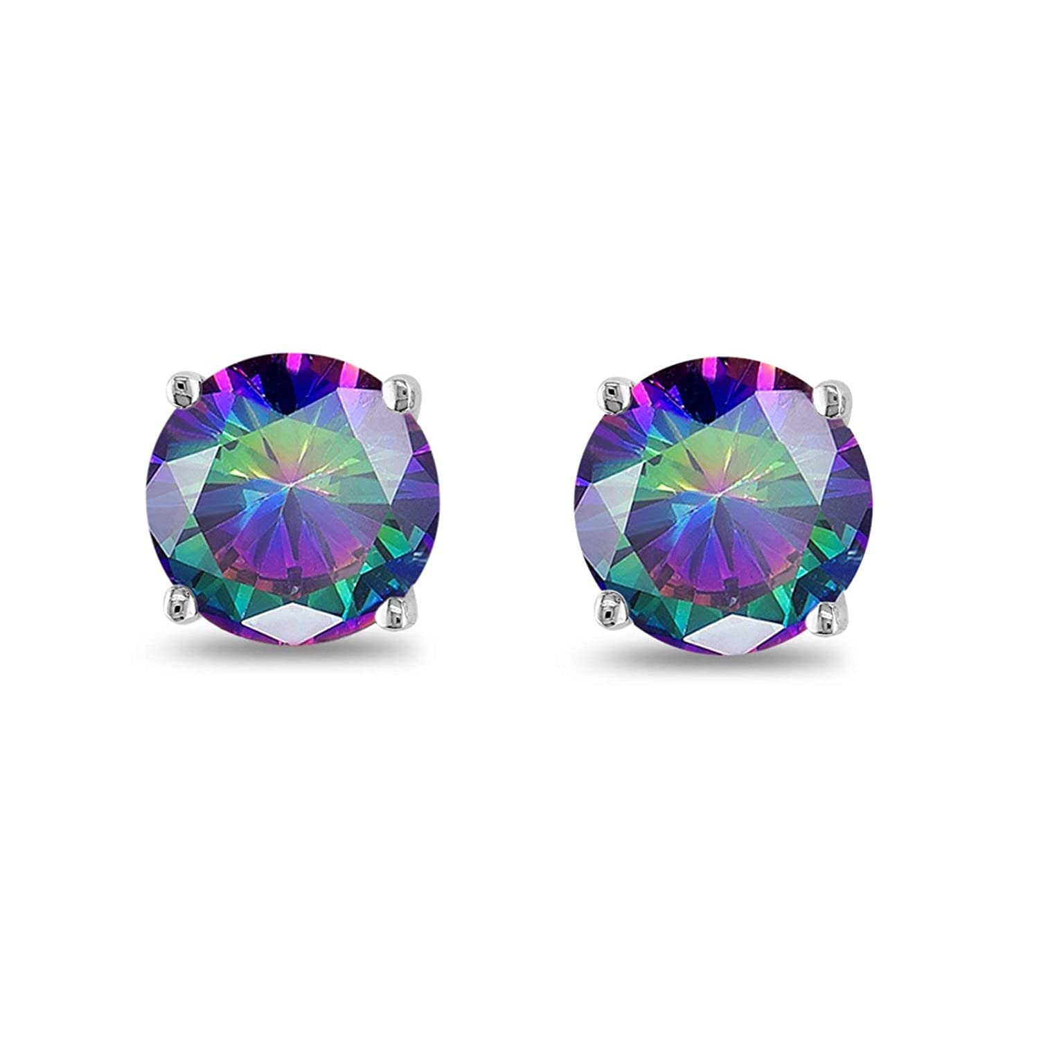 Round Simulated Rainbow CZ 925 Sterling Silver Stud Earring Choose Color-Size Blue Apple Co