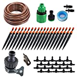 KORAM 360 degree Micro Sprayer and Dripper on Stake Irrigation Gardener's Greenhouse Plant lawn Watering Drip Kit Accessories with 50ft 1/4'' Blank Distribution Tubing Hose IR-I