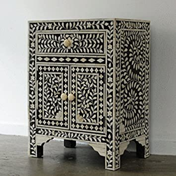Attractive Floral Bone Inlay Bedside Table Handmade Inlay Furniture