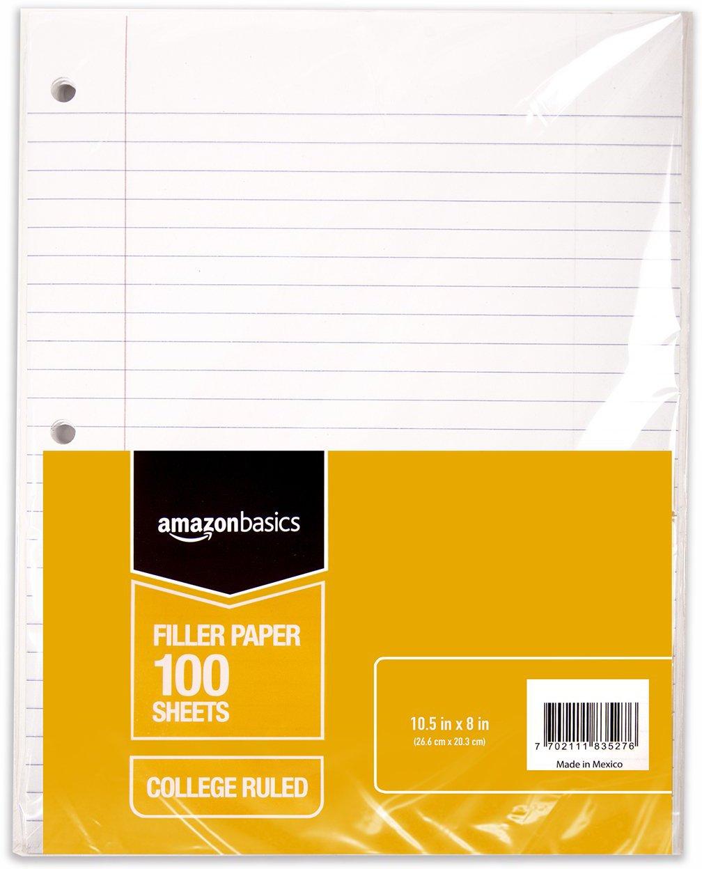 """AmazonBasics Wide Ruled Loose Leaf Filler Paper, 100-Sheet, 10.5"""" x 8"""", 6-Pack"""