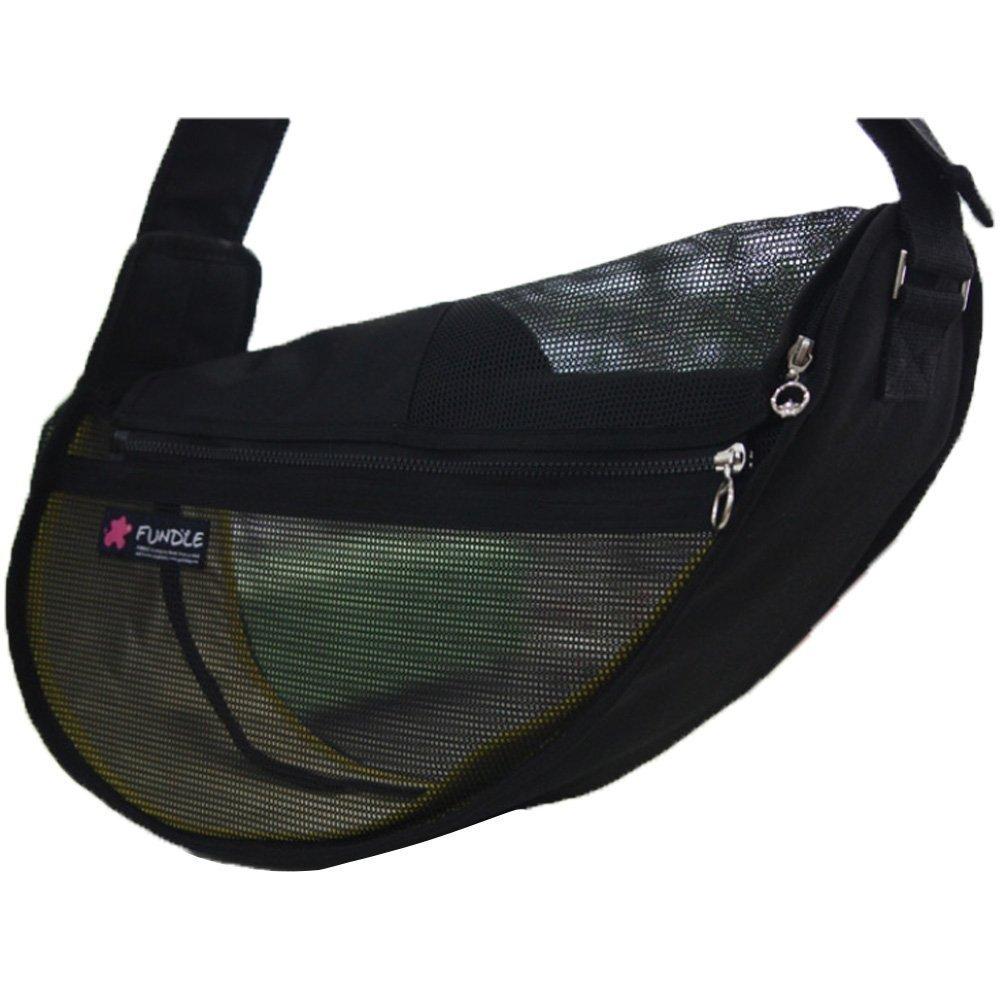 FUNDLE pet sling Cool Carrier Bag Adjustable Strap Seethrough (Large_Black)