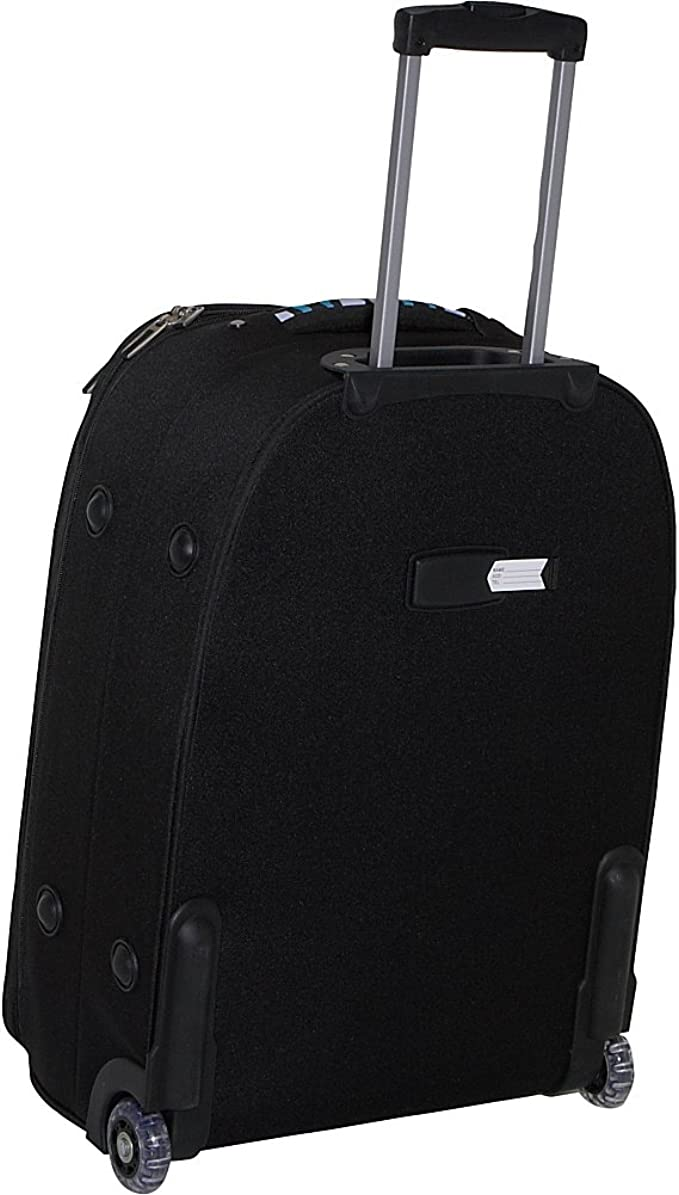 Nuo Blue Lotus Rolling Carry-On Travel Bag Lightweight Softside Expandable Cabin Size Luggage with 2 Wheels and Telescoping Handle