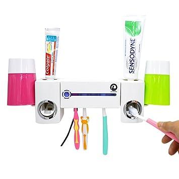 TECHSHARE Kit de esterilizador desinfectante Cepillo de Dientes luz UV con dispensador de Pasta de Dientes 5 Portacepillos de Dientes + Exprimidor ...
