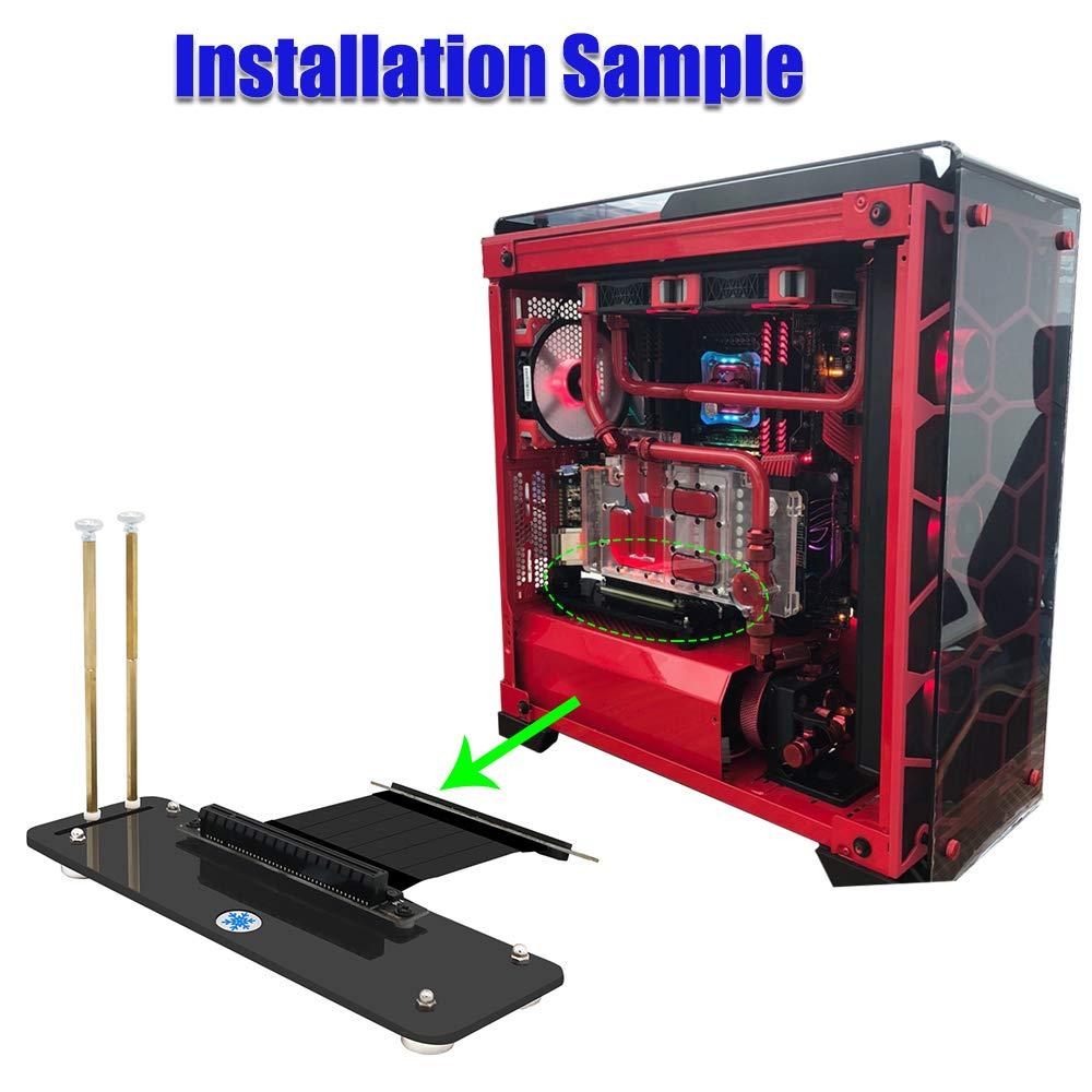 LeHang Soporte/Base Vertical para Tarjeta gráfica PCI-E 3.0 16x con Cable de extensión PCI-E de Alta Velocidad y Soporte magnético para el gabinete ...