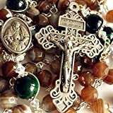 elegantmedical Handmade Rosary Green Tiger Eye & Natural Agate Beads Catholic 5 Decade Rosary Necklace Cross & Gift Box