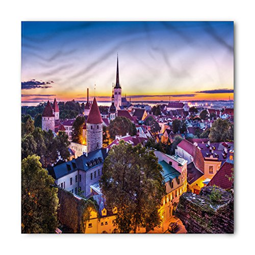 Urban Bandana by Lunarable, Medieval Architecture Town with Castles Old Houses and Towers at Dawn Tallinn Estonia, Printed Unisex Bandana Head and Neck Tie Scarf Headband, 22 X 22 Inches, - At Castle Towers Shops