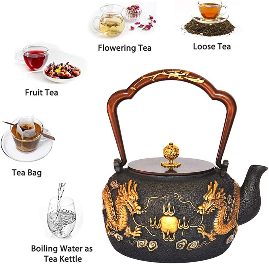 Stovetop Safe Cast Iron Tea Kettle Large Japanese Tetsubin Teapot Kettle Dragon With Handle For Wood Stove Induction Cooker And Gas Stove Anti Rust Teapots