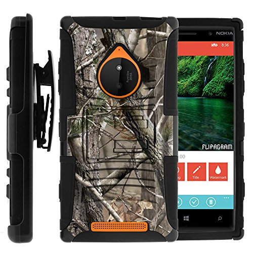 MINITURTLE Case Compatible w/ Nokia Lumia 830 Case, Nokia Lumia 830 Holster, Two Layer Hybrid Armor Hard Cover w/ Built in Stand for Nokia Lumia 830 (AT&T, T Mobile, Verizon) from MINITURTLE | Includes Screen Protector Nature's Camouflage (Nokia 830 Case Holster)
