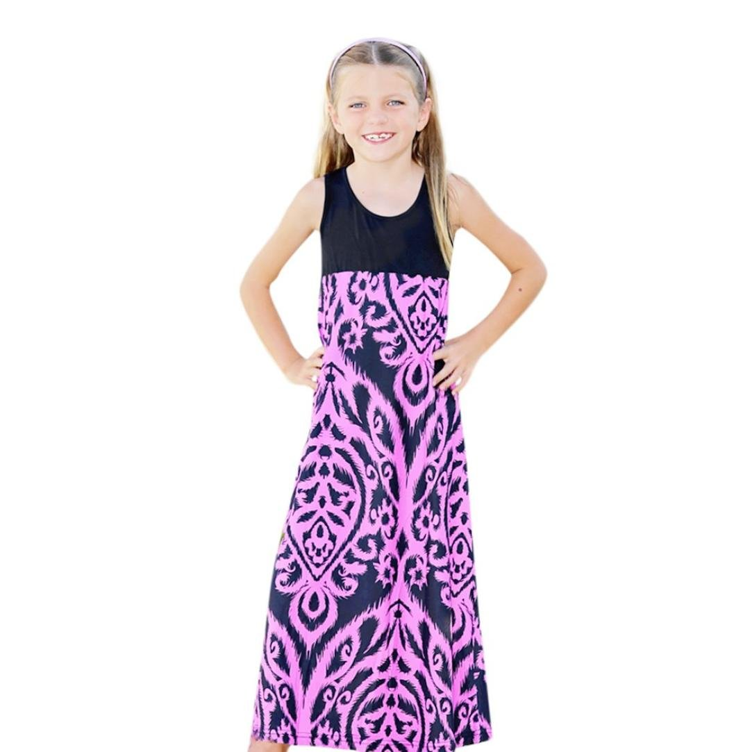 4fd85c05c5 Amazon.com  SUNBIBE💕Mommy &Me Baby Children Kid Girls Print Purple Sundress  Sleeveless Dress Family Clothes  Clothing