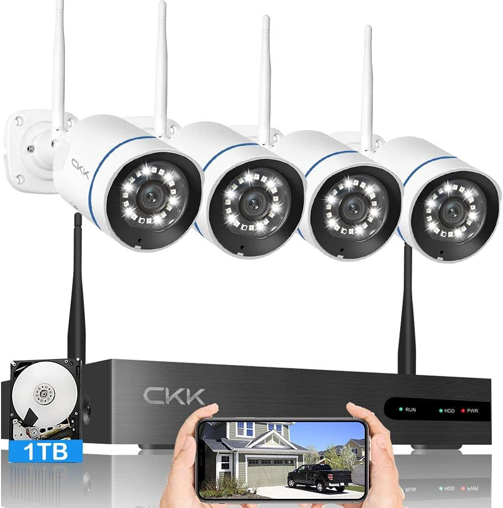 【Floodlight & Siren Alarm】 Wireless Security Camera System, CKK 3MP Ultra HD 8CH NVR System with 1TB HDD, 4Pcs 3MP WiFi Surveillance Cameras with 2 Way Audio, Color Night Vision, AI Human Detection