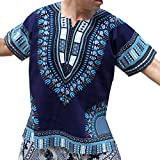 RaanPahMuang Brand Unisex Bright Colour Cotton Africa Dashiki Shirt Plain Front, Small, Midnight Blue